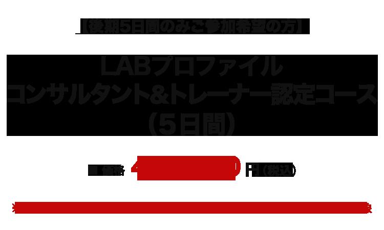 LABプロファイル コンサルタント&トレーナー認定コース(後期5日間)